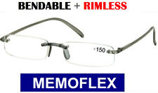 +2.50 BENDABLE RIMLESS 2.5 2.50 reading glasses bendy plastic memoflex NEW+CASE