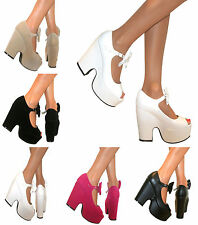 LADIES CHUNKY DEMI WEDGE BOW SANDALS PEEP TOE MARY JANE PLATFORM SHOES HEELS