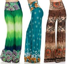 Women Casual High Waist Foldover Wide Leg Long Boho Print Trousers Palazzo Pants