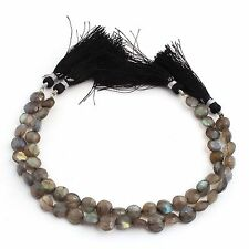 1 Strand Labradorite Faceted Coin Beads Briolettes 7mm-8mm 8 Inches PB211
