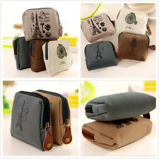 New Arrival Womens Retro Canvas Tower Wallet Card Key Coin Purse Bag Pouch Case