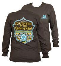 Southern Couture Preppy Southern By the Grace of God Floral Long Sleeves T-Shirt