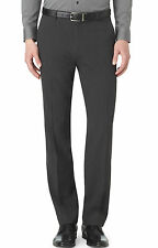 CALVIN KLEIN CK Straight Fit Textured Flat Front Dress Pants Gunmetal Grey $89