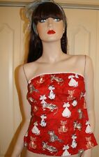 Vintage 90's Red Strapless Cartoon Cat Top by Love Life sz M Felice Pappas