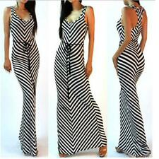 Women's Slim Sleeveless Striped Long Tank Dress Summer Beach Maxi Sundress