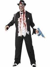 Zombie Gangster Costume- Adult Men Outfit Halloween Fancy Dress