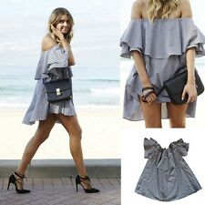 Sexy Women Summer Casual Off Shoulder Evening Party Short Mini Dress Beach Dress