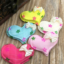 30/60/300PCS 40mm Padded Felt Sweet Heart Rhinestone Appliques Craft Mix A322