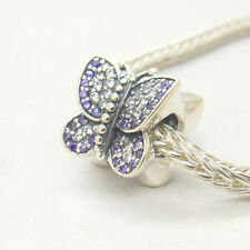 Authentic Genuine S925 Silver Sparkling Butterfly Purple Pave Cz Bead Charm