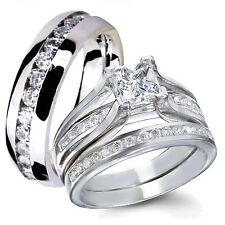 Her Sterling Silver Princess Cut CZ His Stainless Steel Engagement Wedding Rings