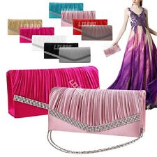 Satin Evening Bags Women Pleated Bridal Prom Diamante Clutch Bags  Handbags