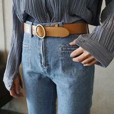 Women Ladies Leather Causal Vintage Waistband Round Pin Buckle Belt for Pants