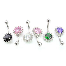 316l Surgical Steel Crystal Flower Belly Button Ring Body Piercing Navel Bar 14g