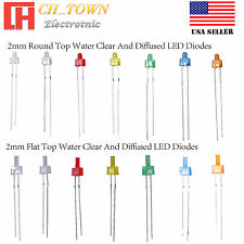 2mm Water Clear Diffused Round Top Flat Hat Warm White Red Blue LED Diodes