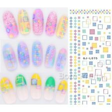 Nail Art Water Decals Transfers Stickers Round Square Pattern Decoration