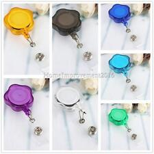 Retractable Key Ring ID Card Holder Reels Badge Plastic W/Metal Belt Clip Flower