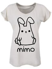 Women's Mimo Raw Edged Collar and Roll Sleeve Vintage T-shirt White