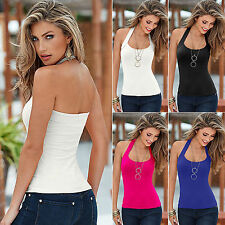 Sexy Womens Summer Halter Neck Backless Sleeveless Vest Blouse Cami Top T-Shirts