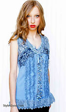 New Pretty Angel Clothing Mercer Womens Vintage Corset Top In Blue 67642