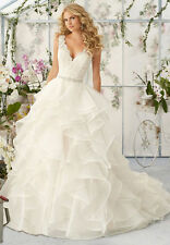 New White/Ivory Lace organza Wedding Dress Ball Gown Custom Size 6 8 10 12 14 16