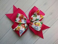 "Boutique Lalaloopsy Hot Pink Double Layer Hair Bow 4"" Clip or Barrette"