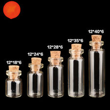 5 Pcs Clear Glass Cork Empty Small Tiny Message Bottle Vials