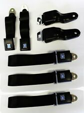 Black Seat belts GM logo 1967-1969 Firebird Camaro Retractable OE Style All 5