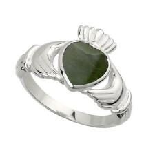 Solid Silver Connemara Marble Celtic Claddagh Ring Made In Ireland Gift Boxed