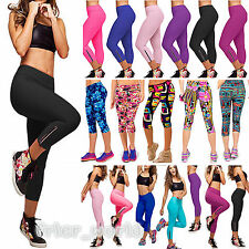 Womens Capri YOGA Running Pants High Waist Fitness Stretch Cropped Leggings M-XL