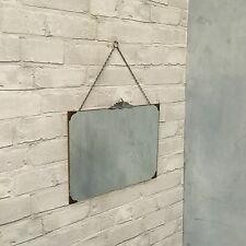 Vintage Bevelled Edge Antique Wall Mirror 30s 40s Retro Art Deco With Chain
