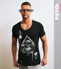 Pistol Boutique mens Charcoal Scoop Neck Ace Of Spades Skull card SALE tshirt
