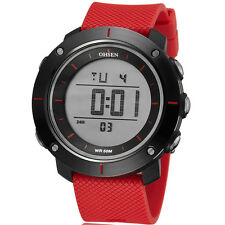 OHSEN Mens Stop Watch LED Display Silicone Alarm Sport Digital Quartz WristWatch