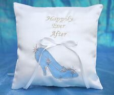 Happily Ever After Princess Cinderella Slipper White Satin Ring Bearer Pillow