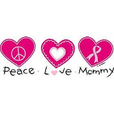 PEACE LOVE MOMMY BREAST CANCER AWARENESS T SHIRT (436)