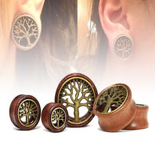 PAIR WOOD BRASS Tree of Life EAR TUNNELS FLESH TUNNELS Ear Gauges Earrings Plugs