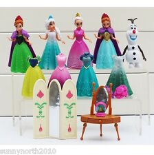 FROZEN DISNEY ELSA ANNA MAGICLIP DOLLS TOYS FIGURES CAKE TOPPERS RIBBON 14pc SET