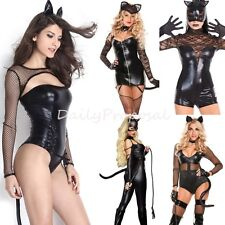 Sexy Catwoman Lace Leather Bodysuit Adult Women Halloween Costume Role Play USA