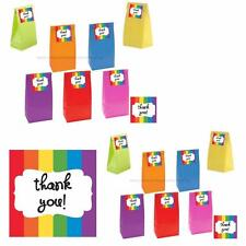 "Rainbow Paper Party Bags With Rainbow ""Thank You"" Stickers/Kids Party Supplies"