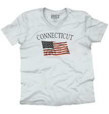 Connecticut Patriotic Home State American USA T Shirt Flag V-Neck T-Shirt