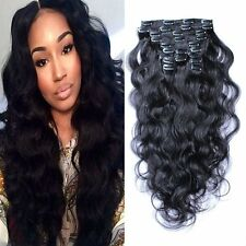 queen women 10pcs 140g Set Clip in Real Remy Human Hair Extension BODY WAVE HAIE
