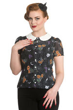 NEW HELL BUNNY BLACK HALLOWEEN 50S RETRO ROCKABILLY GOTHIC SHIRT TOP BLOUSE 8-22