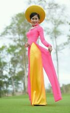 AO DAI Vietnam online shop, Silk & Satin, Pink Dress & Yellow Pant, NO Hat