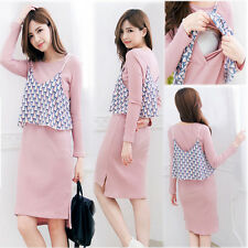 Slim Dress Nursing Breastfeeding 2PCS Set Prenancy Maternity Trendy Cute M/L/XL