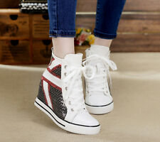 HOT SALE Women's High-Top Flag Canvas Sneakers Sequins Platform Wedge Shoes