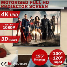 """100""""120""""125""""Inch Projector Screen Portable Tripod Electric Motorised Projection"""
