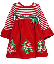 Girls Christmas Dress Red Striped Knit Christmas Trees Toddler Bonnie Jean NWT