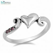 Love Heart Ring Solid 925 Sterling Silver Synthetic Ruby Valentines Love Gift