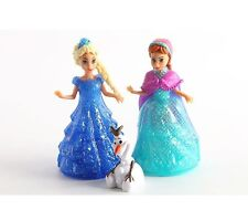 FROZEN ELSA ANNA OLAF DOLLS FIGURES MAGICLIP TOYS CAKE TOPPER RIBBON 5pc GLITTER
