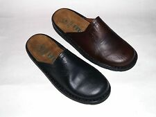 Helix Leather Mules black & espresso Footbed Clogs Slippers