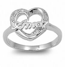 Promise Amor Love Heart Ring Solid Sterling Silver White CZ Valentines Love Gift
